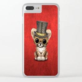 Steampunk Baby Cheetah Cub Clear iPhone Case