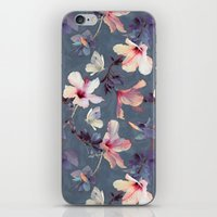 dark iPhone & iPod Skins featuring Butterflies and Hibiscus Flowers - a painted pattern by micklyn