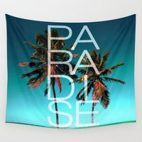 paradise Wall Tapestries featuring PARADISE by Chrisb Marquez