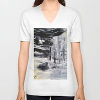 singapore V-neck T-shirts featuring Singapore I by Kasia Pawlak