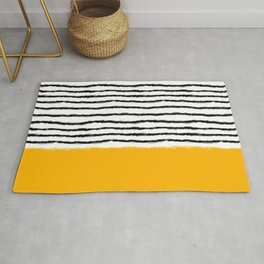 Watercolor Lines Yellow Black Rug