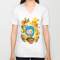ramen V-neck T-shirts featuring I love ramen by inkdesigner