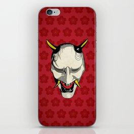 Japanese Ghost Mask with Sakura Pattern iPhone Skin