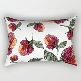 Prairie Rose Flower in Red and Orange Rectangular Pillow