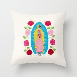 Skull Virgin of Guadalupe_ Hand embroidered Throw Pillow