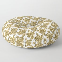 Faux White and Gold Glitter Small Damask Floor Pillow