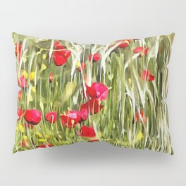 Red Corn Poppies Pillow Sham