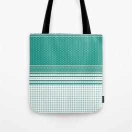 Teal Poka Dot Multi Pattern Design Tote Bag