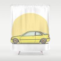 honda Shower Curtains featuring Honda Integra DA5 vector illustration by Underground Worm