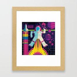 Space Man Rocket Pop Framed Art Print
