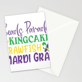 Beads Parades Kingcake Crawfish Mardi Gras-01 Stationery Cards