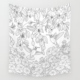 Hummingbirds and Flowers Coloring Page Wall Tapestry