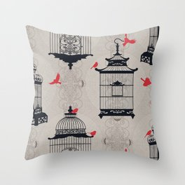 Kiss Empty Brid Cages Throw Pillow