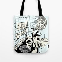 toilet Tote Bags featuring TOILET CLEANING by Sofia Youshi