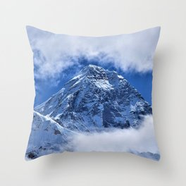 Summit of Mount Everest in clouds Throw Pillow