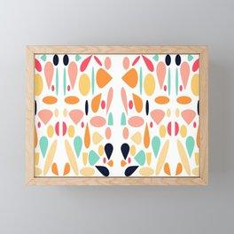 Mixed Shapes Abstract Coral Orange Gold Framed Mini Art Print