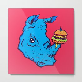 Rhino With A Cheeseburger Metal Print