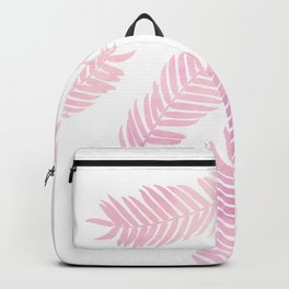 Pink Palm Leaves  |  White Background Backpack