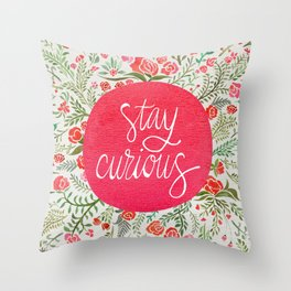Stay Curious – Pink & Green Throw Pillow