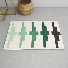 Mid Century Minimalist Ancient Aztec Inca Geometric Pattern Watercolor Deep Green Colorful Gouache Rug