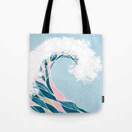 Surf X // Cali Beach Summer Surfing Rip Curl Gold Pink Aqua Abstract Ocean Wave Tote Bag