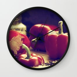 Fresh red peppers in retro still life Wall Clock