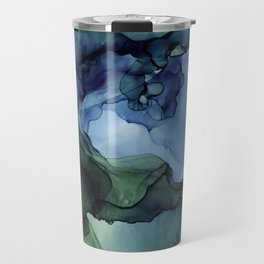 Blue Green Waves Abstract Ink Painting Travel Mug