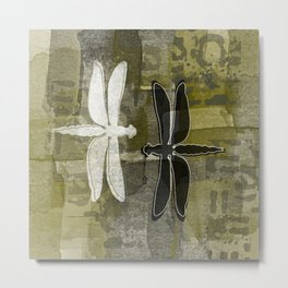 White and Black DragonFlies Metal Print