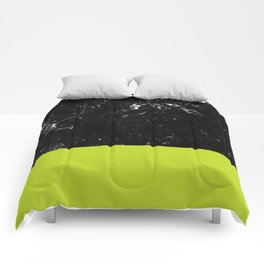 Lime Punch Meets Black Marble #1 #decor #art #society6 Comforters
