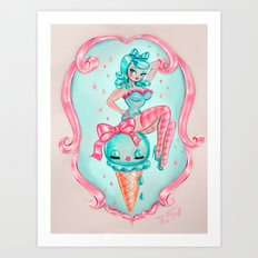 Candy Blue Ice Cream Pin Up Doll Art Print