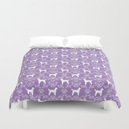 Poodle silhouette floral pattern minimal dog patterns for poodles owners lilac and white Duvet Cover