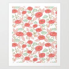 Spring Blooms summer garden nature painting pink pastel orange children kids florals flowers art Art Print