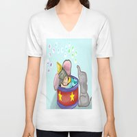 baby elephant V-neck T-shirts featuring Baby Elephant  by grapeloverarts