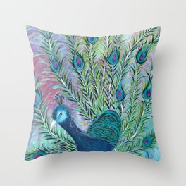 Tail of the Peacock Throw Pillow