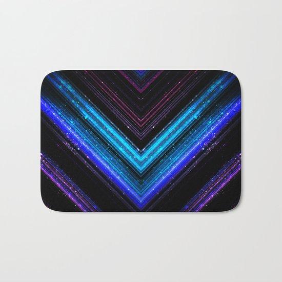 Sparkly metallic blue and purple galaxy lines Bath Mat