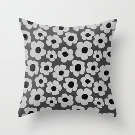 Dark grey floral pattern Throw Pillow