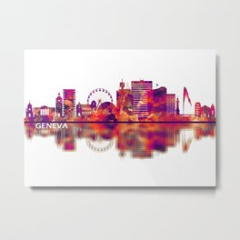 Geneva Switzerland Skyline Metal Print