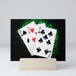 Blackjack Card Game, 21 Count, Three Times Seven Combination Mini Art Print