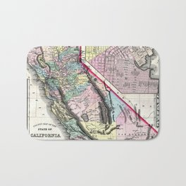 1872 Map of California and San Francisco Bath Mat