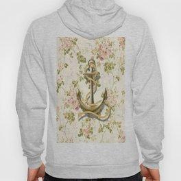 modern vintage beige floral nautical golden anchor Hoody