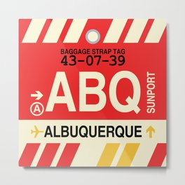 ABQ Albuquerque • Airport Code and Vintage Baggage Tag Design Metal Print