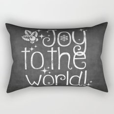 Joy to the world chalkboard christmas lettering Rectangular Pillow
