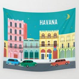 Havana, Cuba - Skyline Illustration by Loose Petals Wall Tapestry