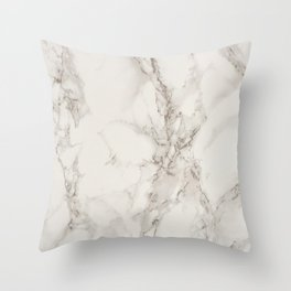 Classic Beige and White Marble Natural Stone Veining Quartz Throw Pillow