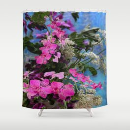 FUCHSIA ORCHIDS QUEEN ANN'S LACE BLUE STILL LIFE Shower Curtain