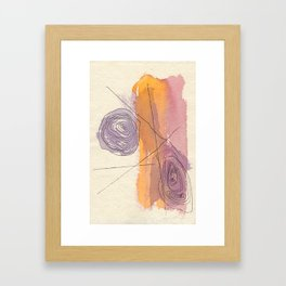 Abstract Map Made of Bright Orange and Pink Brushstrokes And Minimal Linework Framed Art Print