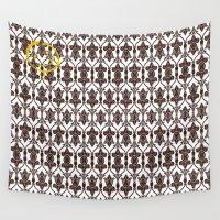 sherlock holmes Wall Tapestries featuring SHERLOCK HOLMES WALLPAPER by Bilqis