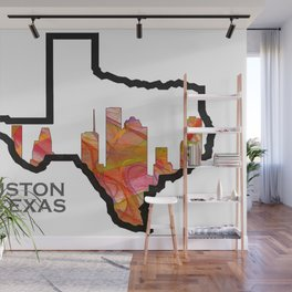 Texas State Map with Houston Skyline Wall Mural