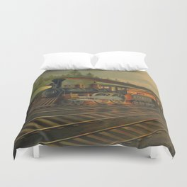 Night Scene on the NY Central Railroad (Currier & Ives) Duvet Cover
