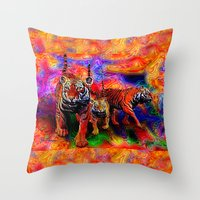tigers Throw Pillows featuring Psychedelic Tigers by JT Digital Art